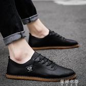 皮鞋新款秋季潮流社會豆豆男鞋子韓版英倫風商務小皮鞋休閒潮鞋 蓓娜衣都