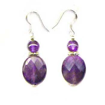 紫晶角度橢圓純銀耳環