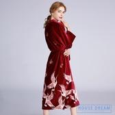 浴袍女 紅色結婚睡袍晨袍女新娘婚禮秋冬中長款浴袍兩件套性感絲絨伴娘服 HD