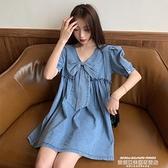 牛仔洋裝 夏季2021新款韓版寬鬆短袖短裙牛仔連身裙法式氣質甜美娃娃裙子女 夏季新品