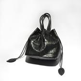 真皮側背包-黑色羊皮多用途水桶包女手提包73vd35[巴黎精品]