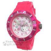 〔小禮堂〕Hello Kitty 矽膠運動手錶《桃.大臉.寶石》腕錶.運動錶 8014071-00101