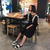 夏裝女裝正韓學院風中長款寬鬆氣質小清新蕾絲拼接短袖挺版洋裝長洋裝 均碼 鉅惠兩天