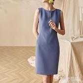 氣質純色連身裙女夏裝新款簡約無袖知性修身OL中長款包臀裙子 秋季新品