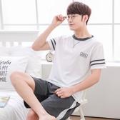 夏季男士睡衣純棉短袖大碼青年男裝卡通薄款純色全棉外穿休閒套裝 居享優品