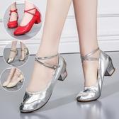 舞蹈鞋女成人廣場舞鞋軟底中跟夏季廣場舞跳舞鞋銀色透氣 伊蒂斯女裝