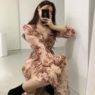 Qmigirl 韓國甜美花朵荷葉領系帶收腰連衣裙【T2260】