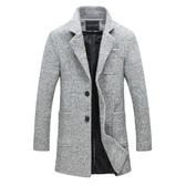 風衣外套-毛呢西裝領兩粒扣大口袋男大衣2色73tz12【巴黎精品】