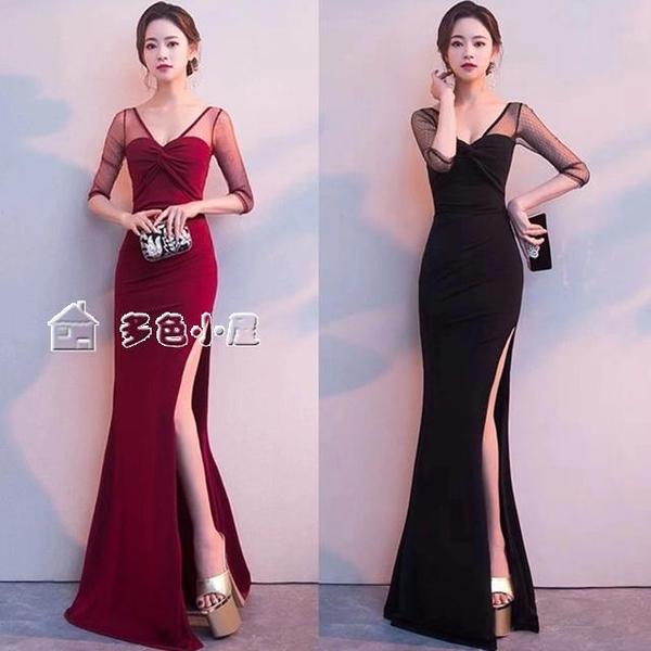 小禮服晚禮服女新款高端宴會黑色性感修身氣質連身裙夏高貴長款顯瘦28日 快速出貨