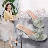 高跟涼鞋 蝴蝶結拖鞋女夏外穿2021新款時尚百搭粗跟仙女風高跟網紅一字涼拖 百分百