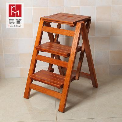 實木家用多功能折疊梯子三步梯椅梯凳室內登高梯木梯子置物架RM