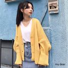 MD韓製-V領寬羅紋針織外套-3色【03...