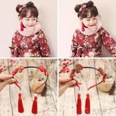 兒童中國風發卡新年寶寶發箍流蘇小孩夾子古風壓發飾品過年頭飾 俏女孩