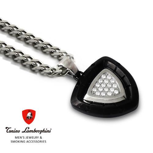 義大利 藍寶堅尼精品 - SPYDER Collection 晶鑽白鋼項鍊(黑色) ★ Tonino Lamborghini 原廠進口 ★
