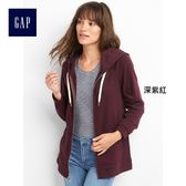 Gap女裝 舒適寬鬆薄絨連帽休閒外套 864855-深紫紅