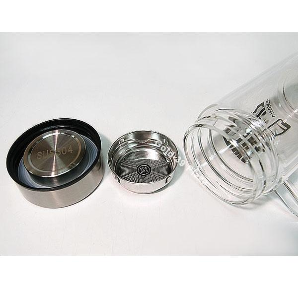 GL-30寬口濾網雙層玻璃300ml AWANA附把手雙層玻璃杯 水杯 泡茶杯 雙層隔熱玻璃杯【SV8384】BO雜貨