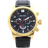 RHYTHM 日本麗聲 三眼計時手錶-46mm SI1602L02