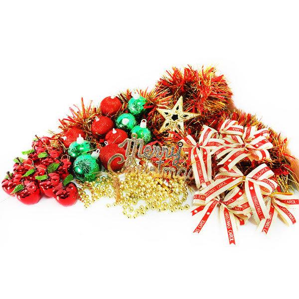 聖誕裝飾配件包組合~紅綠金色系 (2尺(60cm)樹適用)(不含聖誕樹)(不含燈)