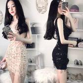 夏新款時尚性感女裝流蘇亮片性感修身顯瘦氣質V領包臀背心洋裝 卡布奇诺
