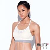 Mollifix 瑪莉菲絲 A++梯背LOGO織帶舒心BRA (白+淡灰)