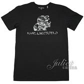 茱麗葉精品【全新現貨】KARL LAGERFELD 卡爾 經典人物迷彩印花造型棉質短T恤.黑
