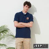 【JEEP】網路限定 簡約狐狸圖騰舒適短袖POLO衫-藍