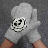 針織手套-羊毛山茶花連指溫暖兔毛女手套3色73or11【巴黎精品】