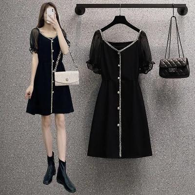 洋裝~大碼女裝裝年女胖妹妹法式氣質遮肉顯瘦拼接連身裙2F054-D胖妞衣櫥