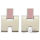 茱麗葉精品【全新現貨】HERMES Eileen 經典H LOGO銀飾耳環.銀/粉