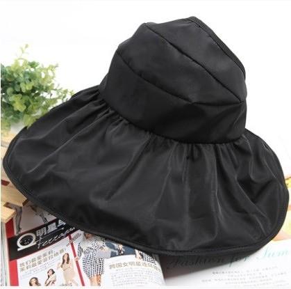 [協貿國際]韓國可折疊涼帽遮陽帽防曬帽子黑色