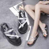 涼拖鞋女夏時尚百搭韓版外穿鬆糕厚底厚底楔形沙灘鞋套趾室外涼鞋 草莓妞妞