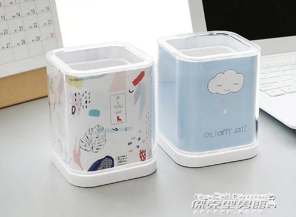 方形diy筆筒創意時尚 韓版小清新學生辦公桌面收納盒