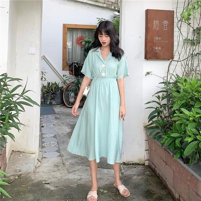 長款洋裝 夏季2020新款學生純色收腰中長款短袖洋裝仙女超仙甜美A字裙 6色