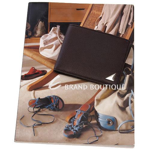 DOLCE & GABBANA 三角金屬片飾對折短夾(深咖啡色) 1240233-C7