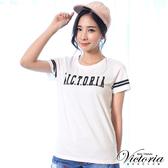 Victoria LOGO貼片袖印條短袖T-女-白色-Y85072