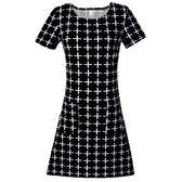 短袖洋裝女夏天氣質修身顯瘦胖mm裙子黑色大碼中年媽媽裝夏裝30 滿天星