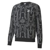 PUMA Nuluxe 男裝 長袖 棉質 針織 休閒 復古 滿版 印花 黑灰 歐規【運動世界】53030501