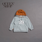 Queen Shop【01038176】童裝 親子系列 山脈撞色連帽上衣 S/M/L*現+預*