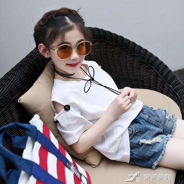 女童露肩上衣夏 韓版中大童半袖打底衫兒童寬鬆短袖t恤潮 樂芙美鞋