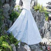 女裝民族風繡花棉麻大擺半身裙自然腰 快速出貨