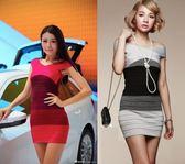 新品新品女裝一字領交叉漸變層性感修身針織繃帶包臀連身裙子洋裝