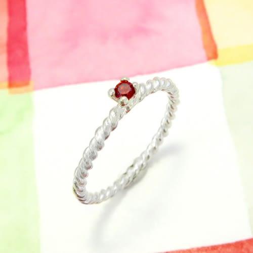 戒指 麻花石榴紅小鑽爪鑲戒 純銀戒指(單只)