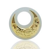 金鑲玉項鍊 和闐玉吊墜-精緻月亮生日情人節禮物男女飾品2款73gf13【時尚巴黎】