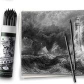 素描全碳炭筆鉛筆繪畫軟中硬性軟碳速寫全炭馬力馬麗美術專用