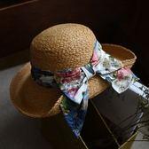 草帽-手工編織盆帽海邊渡假優雅氣質女遮陽帽2色73si52[巴黎精品]