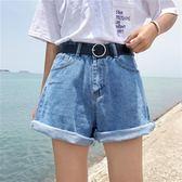 卷邊闊腿熱褲夏季新款韓版寬鬆顯瘦百搭高腰牛仔短褲女 nm299【歐爸生活館】