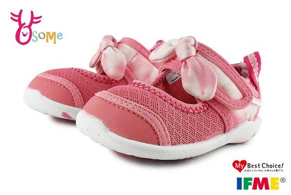 IFME 日本機能鞋 水涼鞋 小童 甜美蜜桃 蝴蝶結 寶寶休閒運動鞋 P7624#粉紅◆OSOME奧森鞋業
