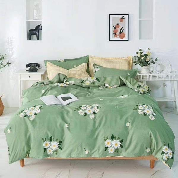 單人薄床包雙人兩用被套三件組 100%舒柔棉(3.5*6.2尺)《抹綠》