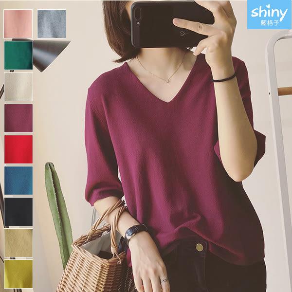 【V2895】shiny藍格子-柔軟舒適.素色V領中長袖針織上衣