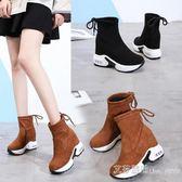 瘦瘦靴女短靴2019新款季加絨內增高短筒襪靴超高跟靴子襪子鞋 艾莎嚴選